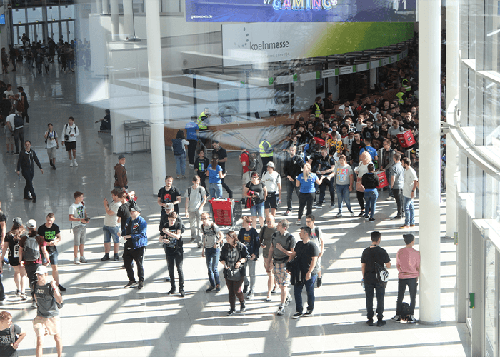 marketing agency employees walking around a convention