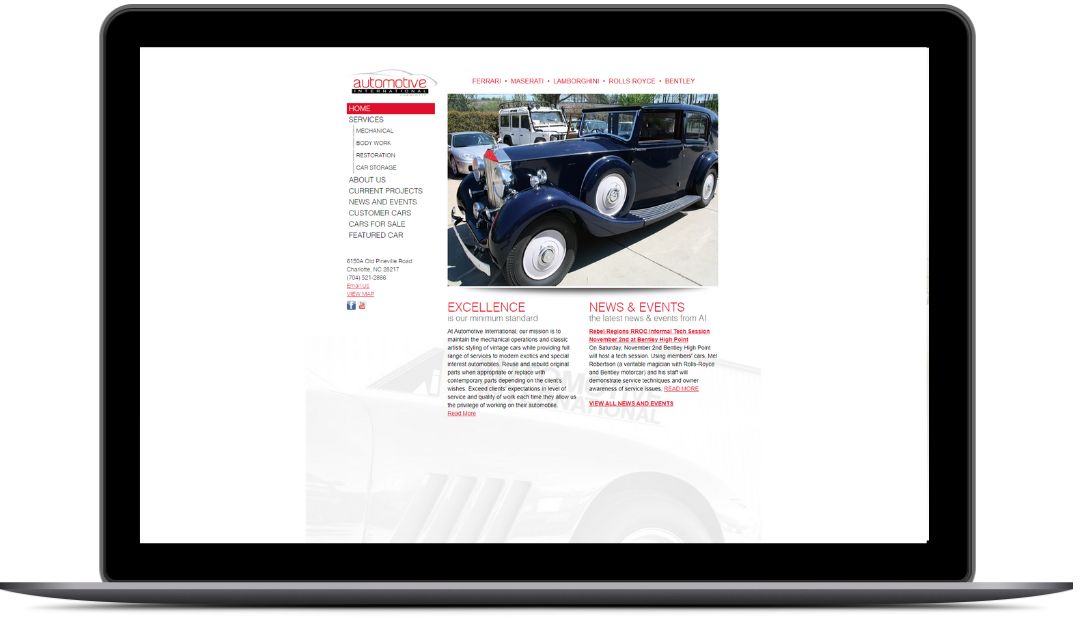homepage web design before automotive international