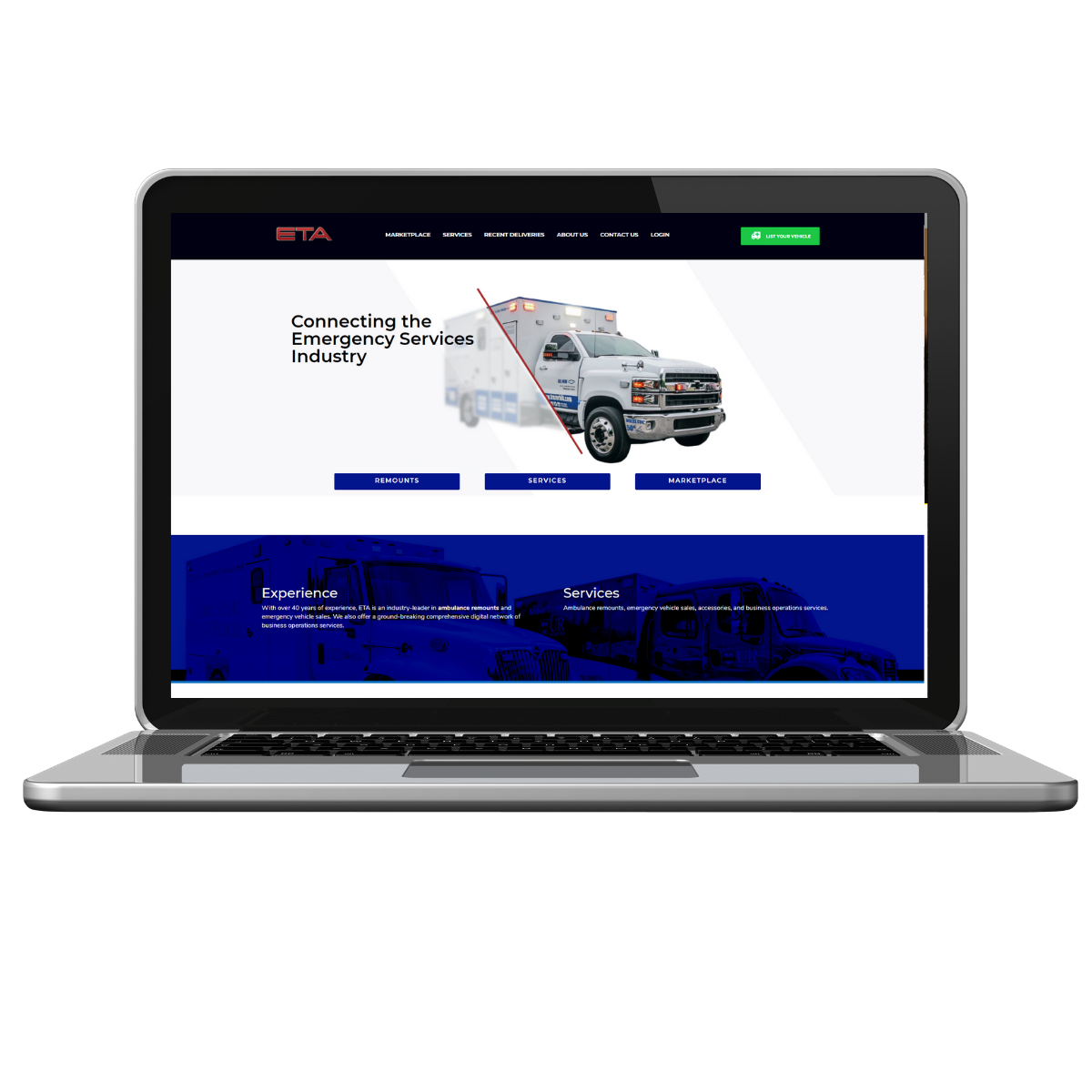 eta homepage web development ambulance