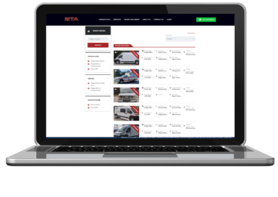 eta vehicle listing web design list