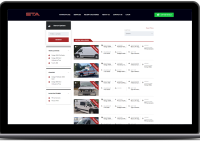 eta vehicle marketplace web design list