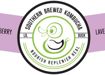 lavenderberry bottle label lil duck kombucha