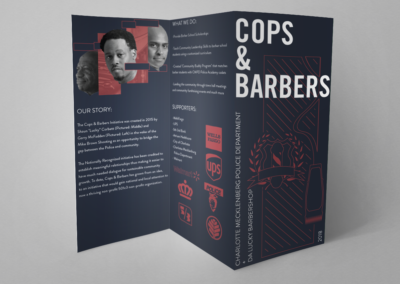 cops and barbers trifold print design